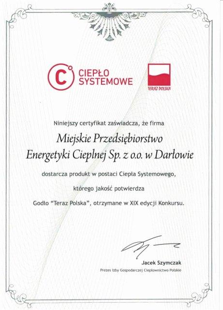 Certyfikat Ciepło Systemowe