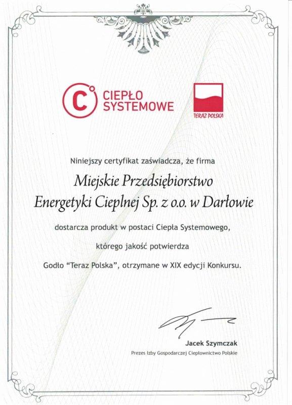 Certyfikat - Ciepło Systemowe Teraz Polska
